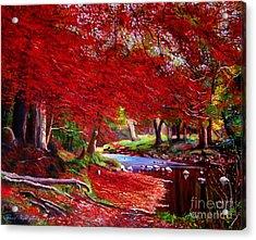 Autumn Fire Acrylic Print by David Lloyd Glover