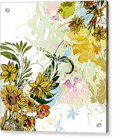 Autumn Sunflower Digital Illustration Acrylic Print by Heinz G Mielke