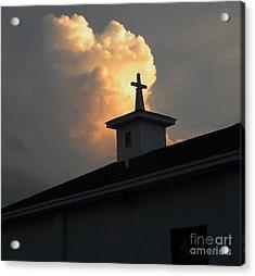 Reaching Baby Angel At The Cross Acrylic Print