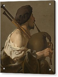 Bagpipe Player Acrylic Print by Hendrick Ter Brugghen