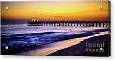 Balboa Pier At Sunset In Newport Beach California Acrylic Print by Paul Velgos