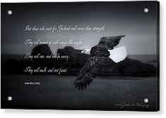 Bald Eagle In Flight With Bible Verse Acrylic Print by John A Rodriguez