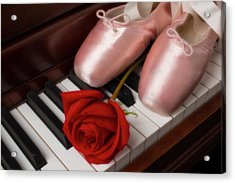 Ballet Shoes With Red Rose Acrylic Print