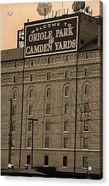 Baltimore Orioles Park At Camden Yards Sepia #2 Acrylic Print