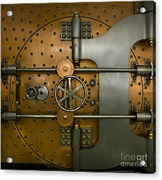 Bank Vault Door Exterior Acrylic Print by Adam Crowley