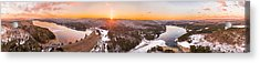 Barkhamsted Reservoir And Saville Dam In Connecticut, Sunrise Panorama Acrylic Print by Petr Hejl