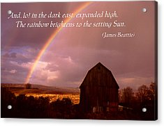 Barn And Rainbow Poster Acrylic Print by Roger Soule