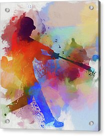 Baseball Player Paint Splatter Acrylic Print by Dan Sproul