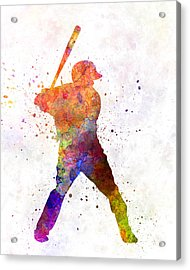 Baseball Player Waiting For A Ball Acrylic Print by Pablo Romero