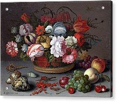 Basket Of Flowers Acrylic Print by Balthasar van der Ast