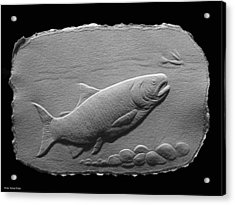 Acrylic Print featuring the relief Bass Fish by Suhas Tavkar