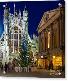 Bath Abbey At Night At Christmas Acrylic Print