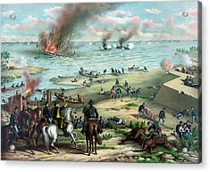 Battle Between The Monitor And Merrimac Acrylic Print by War Is Hell Store