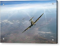 Acrylic Print featuring the photograph Battle Of Britain Spitfires Over Kent by Gary Eason