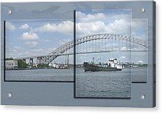 Bayonne Bridge And Boat Acrylic Print by Richard Xuereb