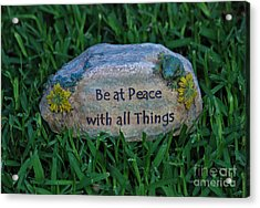 Acrylic Print featuring the photograph 1- Be At Peace by Joseph Keane