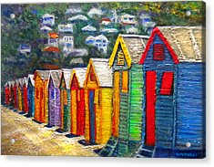 Beach Houses At Fish Hoek Acrylic Print by Michael Durst