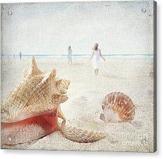 Beach Scene With People Walking And Seashells Acrylic Print by Sandra Cunningham