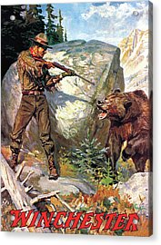 Acrylic Print featuring the painting Bear Charging Man by Philip R Goodwin