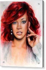 beautiful airbrush portrait of RihanA beautiful airbrush portrait of Rihanna with red hair and a fac Acrylic Print by Jozef Klopacka