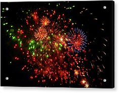 Beautiful Fireworks Against The Black Sky Of The New Year Acrylic Print