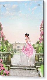 Beautiful Victorian Woman In The Garden Acrylic Print