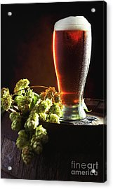 Beer And Hops On Barrel Acrylic Print