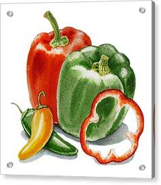 Bell Peppers Jalapeno Acrylic Print by Irina Sztukowski