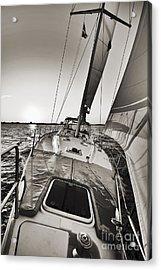 Beneteau 49 Sailing Yacht Close Hauled Charleston Sunset Sailboat Acrylic Print