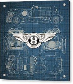 Bentley - 3 D Badge Over 1930 Bentley 4.5 Liter Blower Vintage Blueprint Acrylic Print by Serge Averbukh