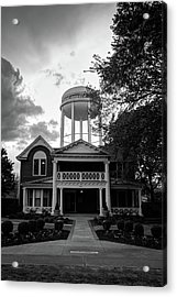 Acrylic Print featuring the photograph Bentonville Arkansas Water Tower - Black And White by Gregory Ballos