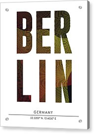 Berlin City Print With Coordinates Acrylic Print