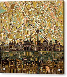 Berlin City Skyline Abstract Acrylic Print by Bekim Art