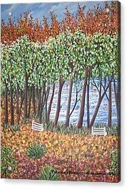 Beside The Pond Acrylic Print by Usha Rai