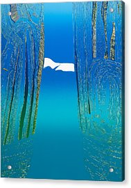 Between Two Mountains. Acrylic Print by Jarle Rosseland