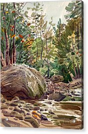Big Rock At Sope Creek Acrylic Print by Donald Maier