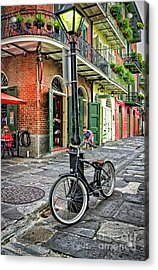Bike And Lamppost In Pirate's Alley Acrylic Print