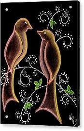 Bird Doodle Acrylic Print by Karen R Scoville
