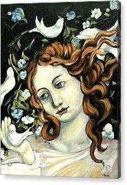 Bird Lady Acrylic Print by Carrie Joy Byrnes