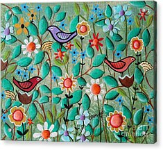 Birds And Blooms Acrylic Print by Karla Gerard