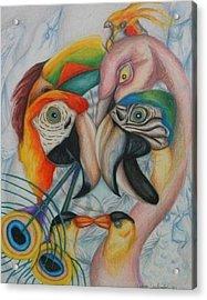 Birds  Acrylic Print by Andrea  Darlington