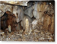 Acrylic Print featuring the photograph Bizarre Mineral Formations In Stalactite Cavern by Michal Boubin