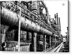 Black And White - Bethlehem Steel Mill Acrylic Print by Bill Cannon