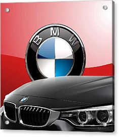 Black B M W - Front Grill Ornament And 3 D Badge On Red Acrylic Print