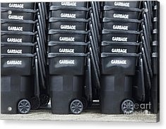 Black Garbage Bins Acrylic Print by Don Mason