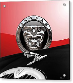 Black Jaguar - Hood Ornaments And 3 D Badge On Red Acrylic Print by Serge Averbukh