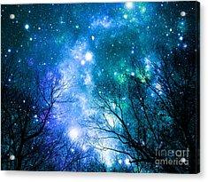 Black Trees Blue Space Acrylic Print