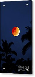 Blood Moon In Hawaii  - Triptych   Part 1of 3 Acrylic Print by Sean Davey