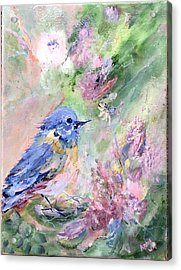 Blue Bird Bouquet Acrylic Print by Ann Wall