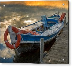 Acrylic Print featuring the photograph Blue Boat by Juan Carlos Ferro Duque
